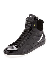 Fendi - Black Mens Mixedleather Hightop Sneaker for Men - Lyst