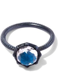 Larkspur & Hawk | Oxidised Silver Bella Blue Quartz Stacking Ring | Lyst