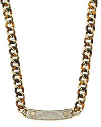 Michael Kors - Gray Curb-Chain Plaque Necklace - Lyst