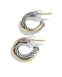 David Yurman | Metallic Crossover Hoop Earrings With Gold | Lyst