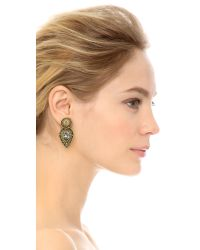 Miguel Ases - Metallic Swarovski Stud Earrings - Gold/multi - Lyst