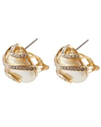 Lulu Frost - Metallic Gold-plated Oleander Spiral Pearl Stud Earrings - Lyst