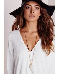 Missguided | Metallic Stone Charm Pendant Gold | Lyst