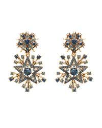 Oscar de la Renta - Black Crystal Stars Clip-on Drop Earrings - Lyst