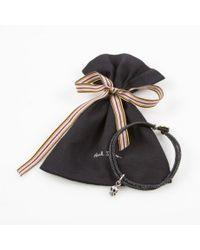 Paul Smith | Silver Skull Charm Black Bracelet for Men | Lyst