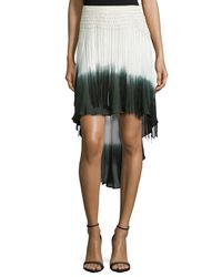 Haute Hippie - Black Ombre High-low Skirt W/fringe - Lyst
