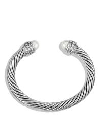 David Yurman - Metallic Cable Classics Bracelet With Pearls & Diamonds - Lyst
