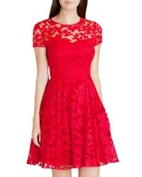 Ted Baker - Red Caree Sheer Floral Overlay Dress - Lyst