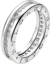 BVLGARI Metallic B.Zero1 18Ct White-Gold And Pavé-Diamond Ring - For Women