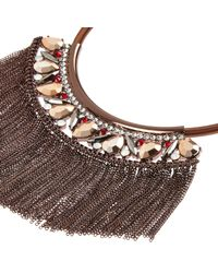 River Island | Brown Bronze Fringed Tassel Necklace | Lyst