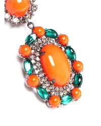 Kenneth Jay Lane | Orange Crystal Pavé Strass Drop Clip Earrings | Lyst