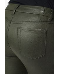 7 For All Mankind Green High Waist Knee Seam Ankle Skinny