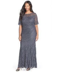 Xscape | Gray Short Sleeve Shimmer Lace Gown | Lyst