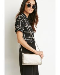 Forever 21 - Metallic Chained Faux Leather Crossbody - Lyst