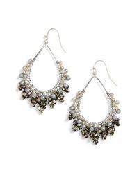 Nakamol - White Crystal Open Teardrop Earrings - Lyst