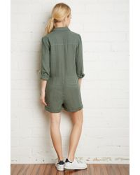 Forever 21 - Green Cotton Utility Romper - Lyst