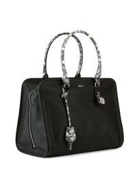 Alexander McQueen - Black Medium Snake Print Padlock Satchel Bag - Lyst