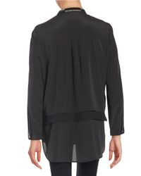 DKNY | Black Layered-style Button-front Blouse | Lyst