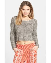 Billabong - Brown 'me And You' Crop Sweater - Lyst