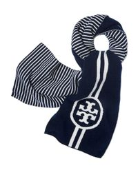 Tory Burch - Blue Reversible Striped Scarf - Lyst