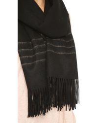 Rag & Bone | Black Brushed Stripe Scarf | Lyst