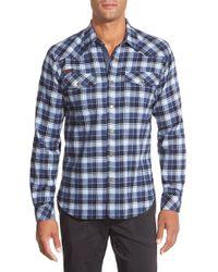 Gramicci | Blue 'off Trail' Regular Fit Flannel Sport Shirt for Men | Lyst