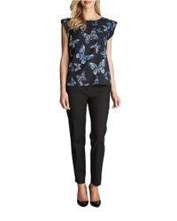 Cece by Cynthia Steffe | Black Butterfly Short-sleeved Blouse | Lyst