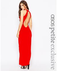 ASOS - Red Petite 90s High Neck Maxi Dress With Low Back - Lyst
