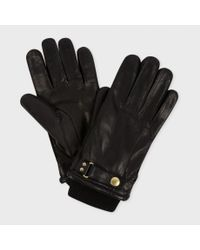 Paul Smith - Men's Black Leather Ribbed Cuff Gloves for Men - Lyst