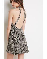 Forever 21 | Black Leaf Print Halter Dress | Lyst