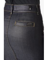 7 For All Mankind Blue Button Front Midi Pencil Skirt With Contrast Stitching