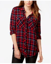 Guess - Red Plaid Button-down Shirt - Lyst