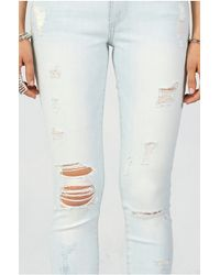 True Religion | Blue Halle Super Skinny Womens Jean | Lyst