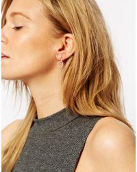 ASOS | Metallic Sterling Silver Open Circles Swing Earrings | Lyst