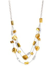 Kenneth Cole - Metallic Silver-tone Shell Bead Illusion Necklace - Lyst
