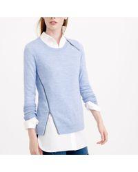 J.Crew - Blue Merino Asymmetrical Zip Sweater - Lyst