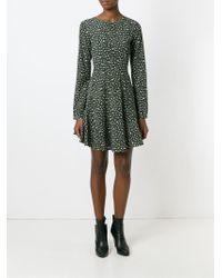 P.A.R.O.S.H. - Green Leopard Print Flare Dress - Lyst