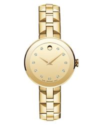 Movado - Metallic 'sapphire' Diamond Index Bracelet Watch - Lyst
