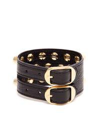 Balenciaga - Metallic Giant 12 Triple-Row Leather Bracelet - Lyst
