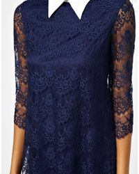 TFNC London | Blue Lace Shift Dress with Contrast Collar | Lyst