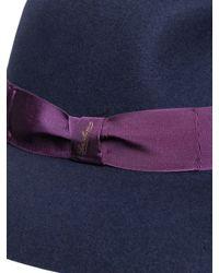 Borsalino - Blue Wool Felt Large Brim Hat - Lyst