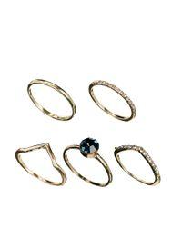 ASOS - Metallic Multi Stone Ring Pack - Lyst
