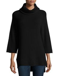 Neiman Marcus - Black Cowl-neck 3/4-sleeve Cashmere Tunic - Lyst