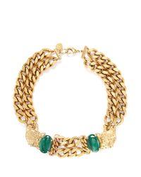 Ela Stone - Green 'grace' Leopard Charm Malachite Chain Necklace - Lyst