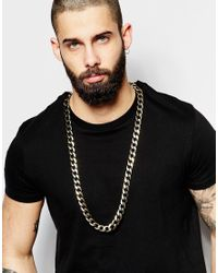 ASOS - Metallic Heavy Chain Necklace In Gold And Black for Men - Lyst