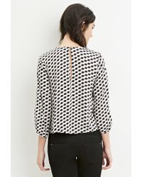 Forever 21 - Natural Geo Print Blouse - Lyst
