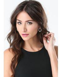 Bebe - Metallic Crystal Oval Earrings - Lyst