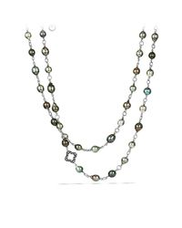 David Yurman | Metallic Bead Chain Necklace With Pearls And Diamonds | Lyst