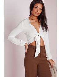 Missguided - Tie Front Cropped Blouse White - Lyst