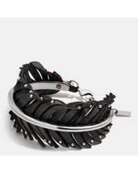 COACH | Black Leather Studded Feather Wrap Bracelet | Lyst
